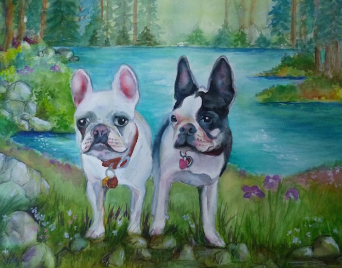 Two French bulldogs in forest