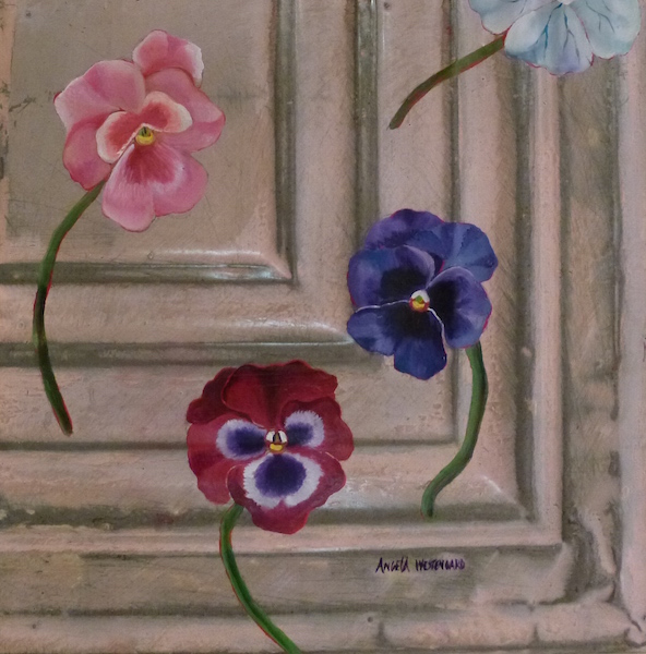 Pansies painted on ceiling tin