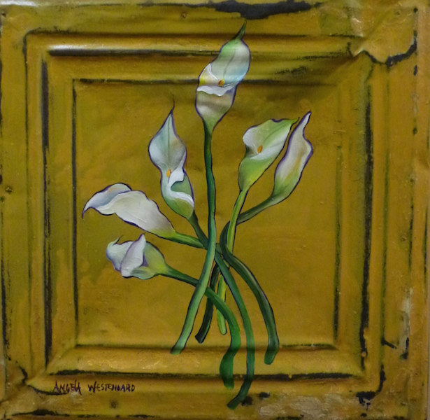Lilies painted on tin tile.