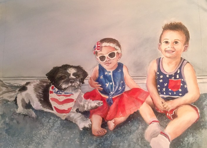 Flag colors of two young children and their dog