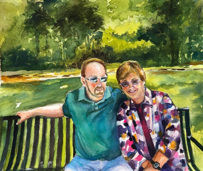 Loving couple in a park. Greens command this painting