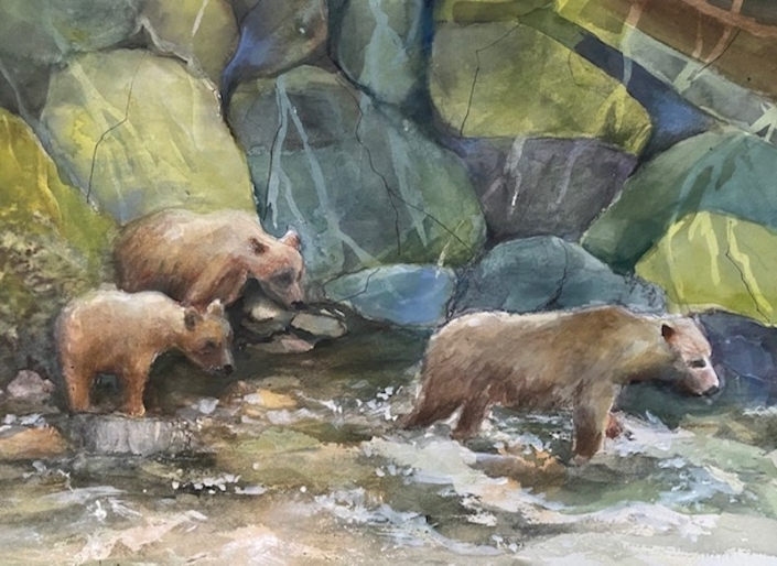 Bears cross a river